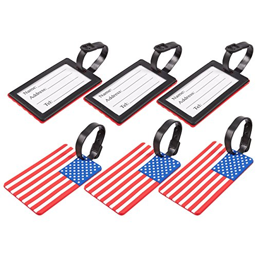 Usa Name Flag (6-Pack Luggage Tags - American USA Flag Travel Baggage ID Labels, 4.1 x 0.23 x 2.6 Inches)