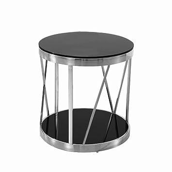 A Fort Table Table Basse Verre Rond En Acier Inoxydable
