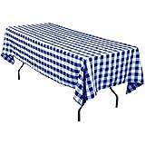 LinenTablecloth 60 x 102-Inch Rectangular Tablecloth Blue & White Checker