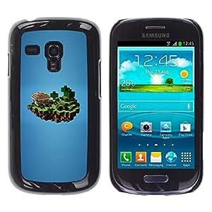 KLONGSHOP // Cubierta de piel con cierre a presión Shell trasero duro de goma Protección Caso - Mina M1necraft - Samsung Galaxy S3 MINI 8190 //