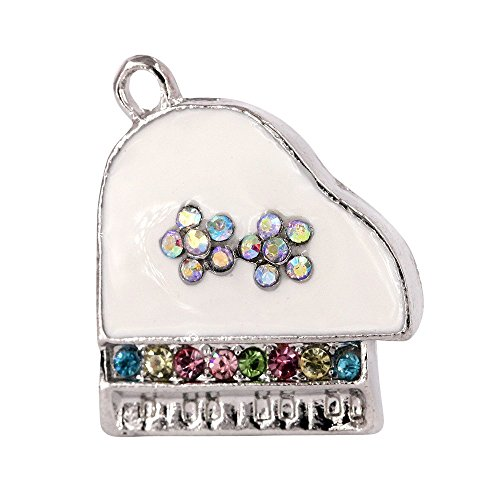 Creative DIY Crystal White Piano Charms Pendants Wholesale (Set of 3) ()