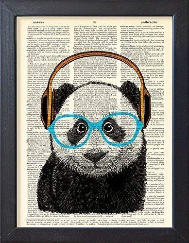 - Panda Headphones Poster Music Art Print, Old Book Page Home Decor
