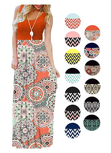LIYOHON Womens Summer Striped Print Loose Maxi Dress Contrast Sleeveless Tank Top Floral Print Long Maxi Dresses for Women 02 Orange Coral-L