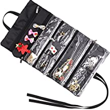 Travel Jewelry Organizer, Earring Necklace Ring Bracelet Watch Storage Roll Up Tight Bag Hanging Holder