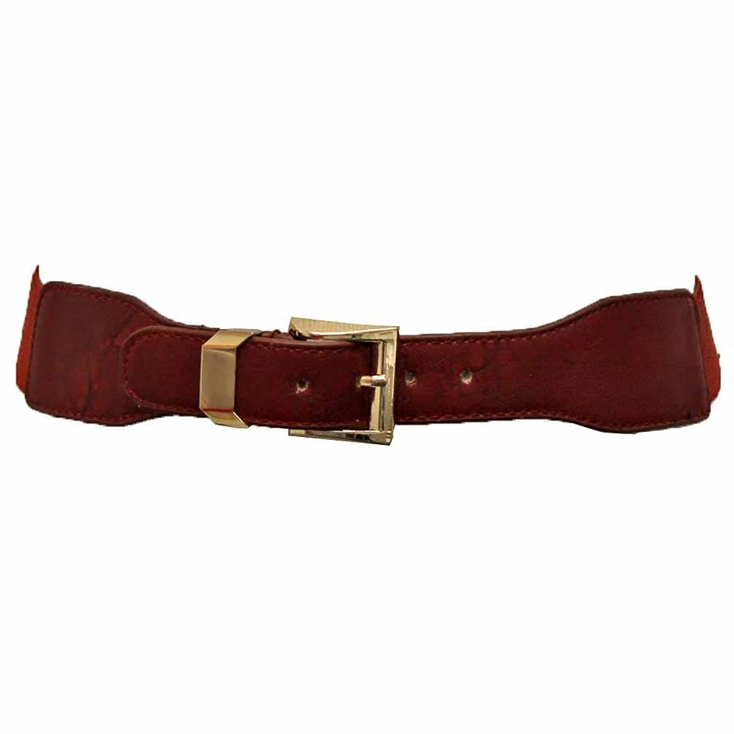 Luxury Divas Thin Elastic Cinch Waist Belt With Gold Buckle