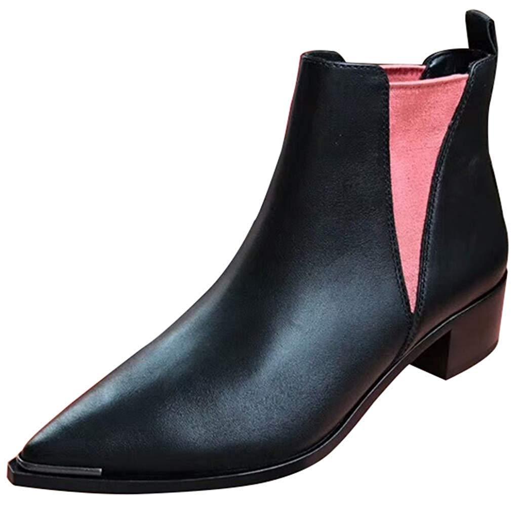 Oudan Damen Chunky Blockabsatz Chelsea Stiefel Fashion Stiefel (Farbe     Schwarz, Größe   38EU) 11b62f