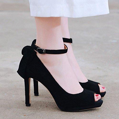 Talons Toe Black Chaussures Zanpa Peep Mode Femmes PxpwqRXER