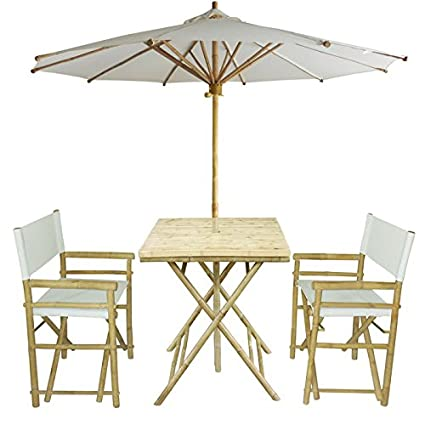 Amazoncom Zew 4 Piece Bamboo Outdoor Backyard Patio Set With