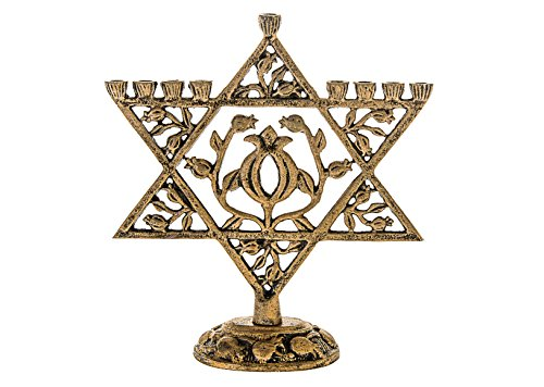 Legacy Judaica Gold Star of David Menorah for Chanukah - for Standard Hanukkah Candles - Floral Magen Dovid Menora Style - 9