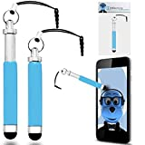 Samsung Galaxy S Wifi 5 inch Mp3 Player Sky Blue Premium RETRACTABLE MINI Captive Touch Tip Stylus Pen with Rubber Tip and 3.5mm headset Jack Dangley Adapter