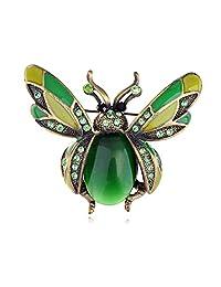 Peridot Green Crystal Rhinestone Ladybug Fly Insect Fashion Jewelry Brooch Pin