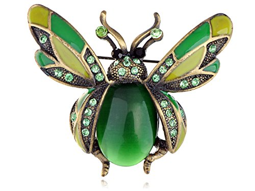 [Alilang Synthetic Peridot Green Crystal Rhinestone Ladybug Fly Insect Fashion Jewelry Brooch Pin] (Fly Costumes)