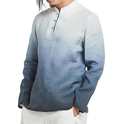Kung Fu Smith Classic Tai Chi Gradient Color Mandarin Collar Jade Buttons Shirt, Blue (Jaden Smith Martial Arts)