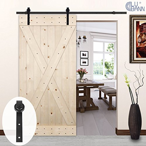 Pine Doors (LUBANN 42in.x 84in. Unfinished X-Brace Knotty Pine Barn Door with 8 ft Sliding Door Hardware Kit (Classic J Style))