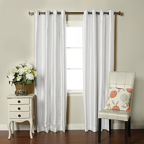 (Brielle Fortune Faux Dupioni Silk Lined Insulated Room Darkeninng Grommet Panel, 52 by 84