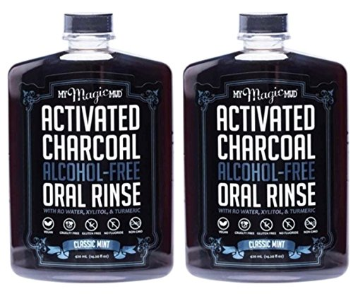 My Magic Mud Activated Charcoal Oral Rinse Classic Mint (Pack of 2) With Reverse Osmosis Water, Turmeric, Aloe Vera Juice, Organic Peppermint Powder, Menthol and Vitamin C, 14.2 fl. oz. Each