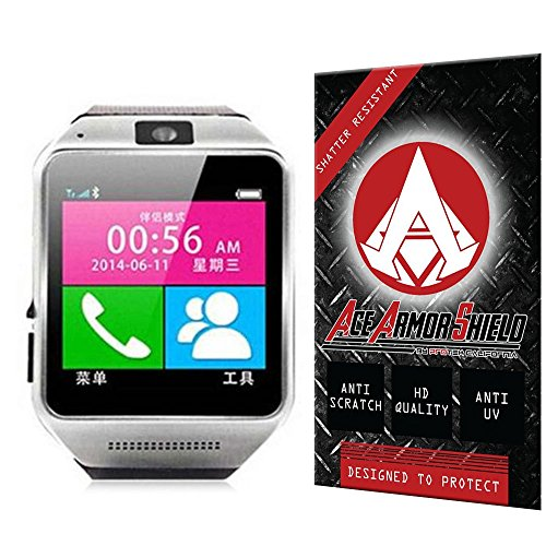 Ace Armor Shield Shatter Resistant Screen Protector for the Excelvan 3-in-1 Bluetooth Smart Watches / Military Grade / High Definition / Maximum Screen Coverage / Supreme Touch Sensitivity /Dry or Wet Easy Installation with free lifetime replacement warranty