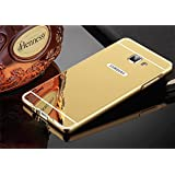 mobbysol Premium Luxury Metal Bumper Acrylic Mirror Back Cover Case for Samsung Galaxy A5 (2015)- Gold