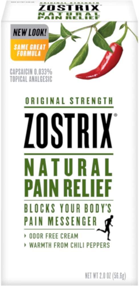 Zostrix Original Strength Pain Relief Topical Analgesic Cream, Capsaicin Pain Reliever, Odor Free, 2 Ounce Tube