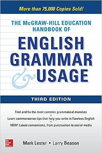 McGraw Hill Education Handbook Of English Grammar Usage