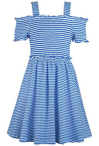 Truly Me, Big Girls' Spring/Summer Easy Off-The-Shoulder Striped Knit Skater Dress with Smocking, Size 7-16 (Royal Blue, 7)