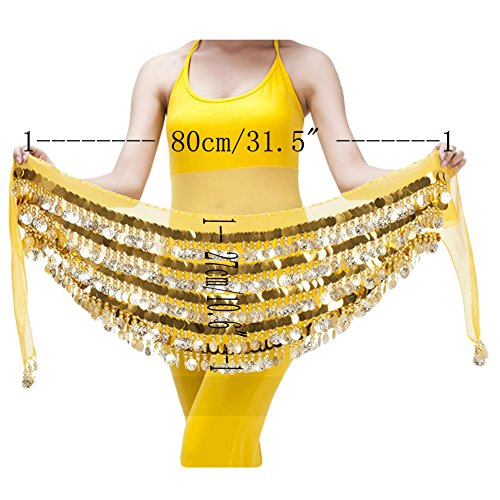 Saymequeen Belly Dance Hip Scarf Multi-Row 228 Gold Coins Dance Waist Chain -