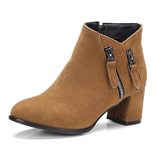 Boots Urethane Closed Firm Brown Ground Toe 1TO9 Manmade Nubuck MNS02468 Womens Zip Fashion Boots Bootie p4Pw7