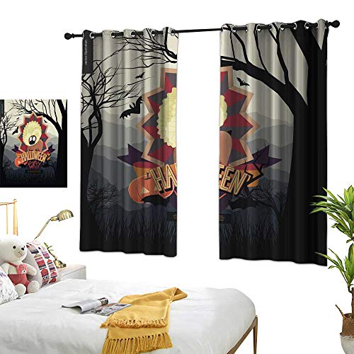 wwwhsl 90% Blackout Curtains for Bedroom Halloween Party Composed Sign Blackout Living Room/Bedroom Window Curtains W96.4 xL72]()