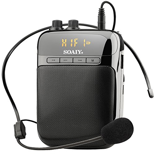 SOAIY S318 2000mAh Rechargeable Lightweight Voice Amplifier with LED Display, Recording Function, Waistband Support, FM/MP3 Format Audio for Teachers, Coaches, Tour-guides, Supermarket Salesman, Etc.