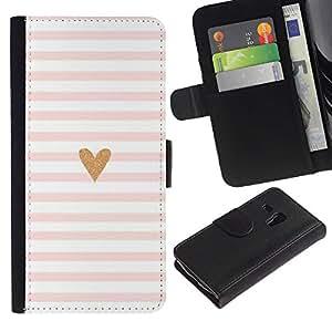 Samsung Galaxy S3 MINI / i8190 (Not For Galaxy S3) Modelo colorido cuero carpeta tirón caso cubierta piel Holster Funda protección - Heart Pink White Love Minimalist Lines