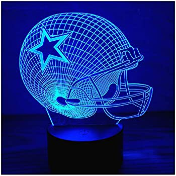 3D Optical Illusion LED Night Light , Boy Girl Kids Baby Sleep Desk Lamp Touch Control 7 Color Change USB Powered for Home Decorations or Holiday Gifts (Football Helmet)