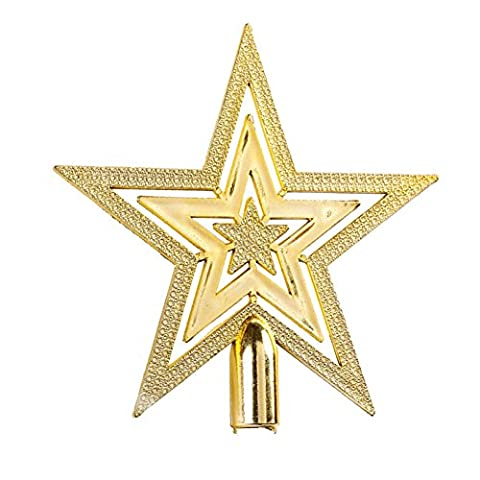Dingang 9.5CM Golden Glitter Star Christmas Tree Topper Ornaments Xmas Decorations