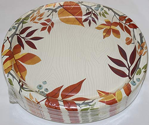 Thanksgiving/Autumn Celebration Oval Paper Plates (Large) - 10