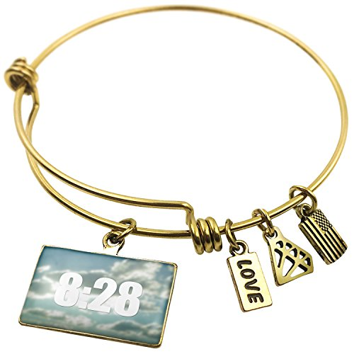 Expandable Wire Bangle Bracelet Read the Bible Romans 8:28, Neonblond (Snake Bracelets Roman)