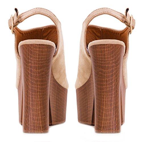 sandali Scarpe plateau tacchi alti Beige Toocool nuovi comodi donna scamosciati sabot DF3396 AI8WA4pxR