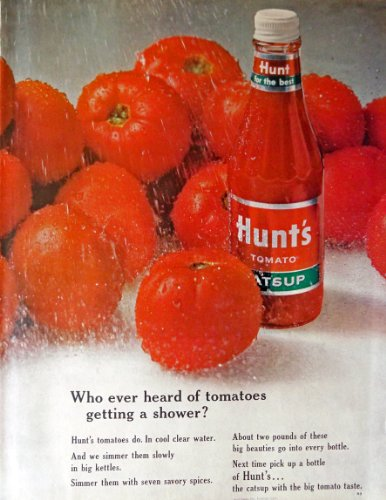 Hunts Tomato Catsup, Print Ad. 60's full page color Illustration, 10 1/2
