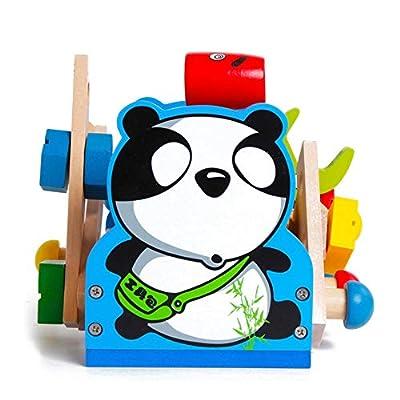 Lvxiuxiu New Children's Puzzle Development Brain Montessori Wooden Pretend Panda Repair Repair Tool Toy Repair Learning Education Preschool Training: Toys & Games