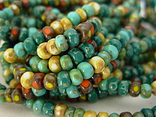 (6/0 Czech 3 Cut Seed Beads- Multi Picasso Mix (1/20