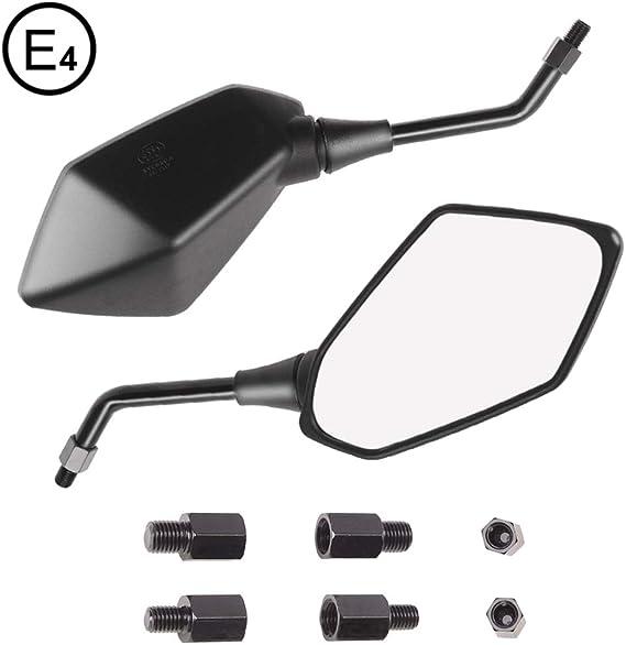 Evermotor Universal Motorrad Rückspiegel Spiegel Set E Mark E Geprüft 2x M10 Rechtsgewinde 2x M8 Rechtsgewinde 1x M10 Linksgewinde 1x M8 Linksgewinde Quad Roller Atv Moped Auto