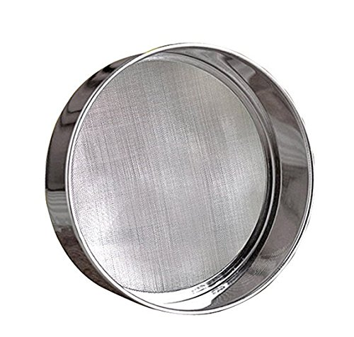 6'' Stainless Steel Professional Round Flour Sieve Strainer with 40 Mesh (6 Inch, 18/8 Steel) by INCHOO