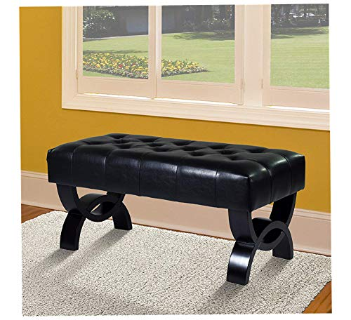 Furniture Central Ottoman in Black Bonded Leather and Black Wood Finish Home Office Commerial Heavy Duty Strong Décor