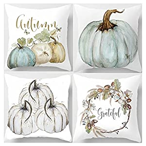 Decemter 18×18 Pumpkin Fall Halloween Thanksgiving Decorative Throw Pillow Covers Soft Cotton Blend Square Pillowcases