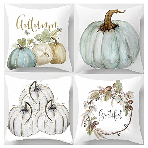 Decemter Throw Pillow Happy Fall Yall Pumpkin Thanksgiving Decoration Cotton Blend Cushion Cover Set of 4,18x18, Pack of 4]()