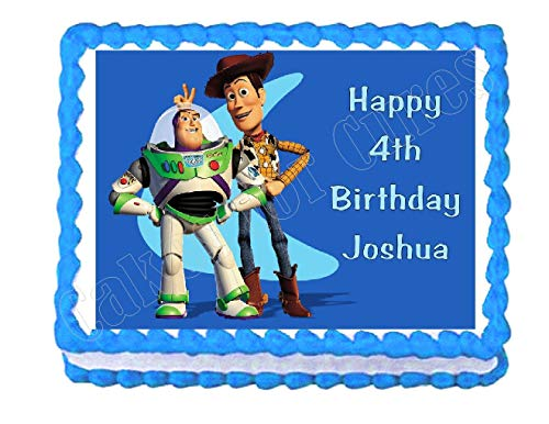 Cakes for Cures Buzz Lightyear and Woody Toy Story Edible Cake Topper Frosting Sheet Decoration (Toy Story Edible Images)