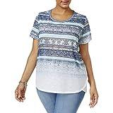 Style & Co.. Womens Plus Gradient Stripe Graphic T-Shirt Blue 0X