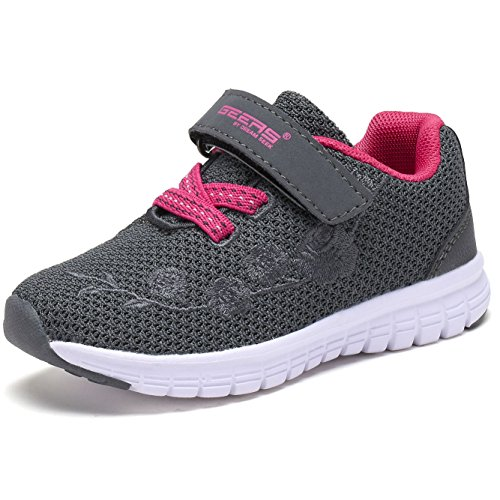 G GEERS OS002 Toddler Running Sneakers Little Girl's colorful Mesh Shoes New GREY/FUCH-10