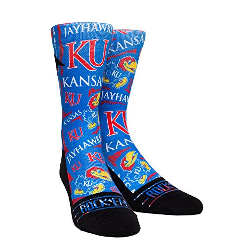 NCAA Kansas Jayhawks Logo Sketch University Custom Athletic Crew Socks, Small/Medium, Blue/Red