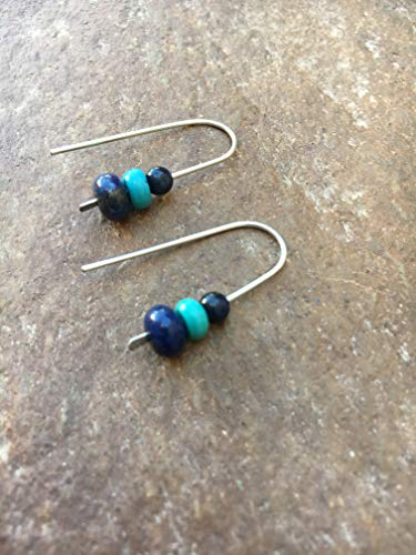 Silver Blue Turquoise and Lapis Threader Earrings