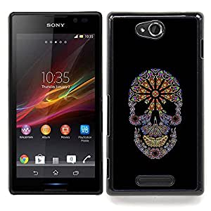- Floral Black Flowers Spring Skull Purple - - Snap-On Rugged Hard Cover Case Funny HouseFOR Sony Xperia C S39h C2305