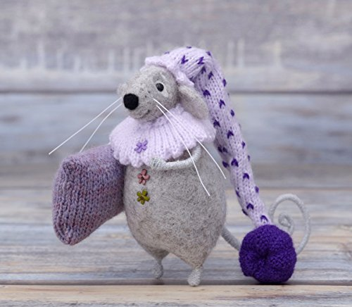 Needle Felted Grey Mouse Doll Gift Felting Toy Kids Room Decor Felt Animal Wool Art Soft Sculpture Rat Fiber Mice - Needle Felted Mouse